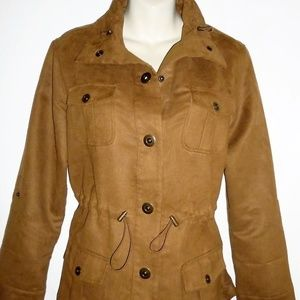 Chico's Womens Sz 1 Brown Faux Suede Jacket